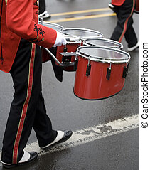 Drummer in a Marching Band on Foggy Day - Drummer in a...