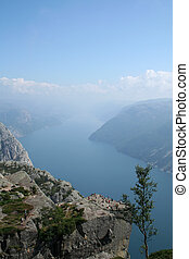 Norwegian fjord - beautiful view of the Norwegian fjord -...