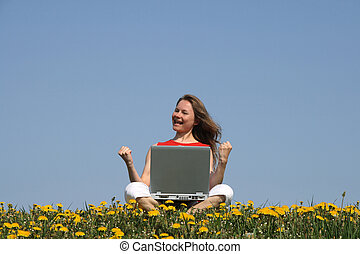Right decision - Happy successful woman with laptop in a...
