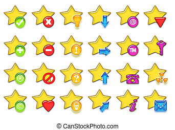 Stars icon - Big yellow stars collections of web icons