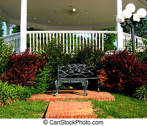Park Bench by the gazebo in our little community park.