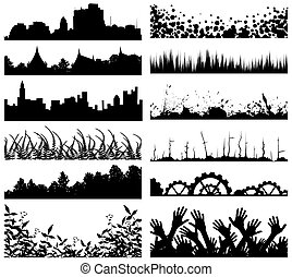 Foregrounds - Selection of foreground silhouettes and...