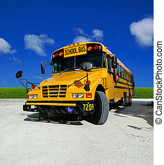 School Bus on a sunny day - detailed front of a school bus