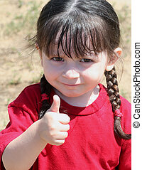 Thumbs Up - Cute little girl giving the thumbs up sign...