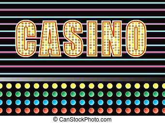 casino lights - Entrance to a casino with bright neon light...