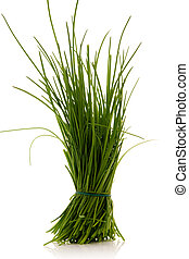 chives - bunch of chives over white background