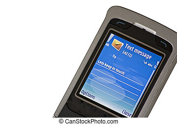 Text message - A cell phone text message with...