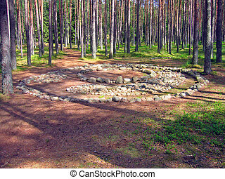 Neolithic stone circle - Celtic neolithic stone circle in...