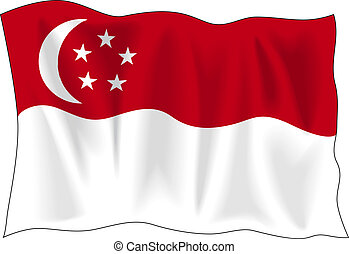 Flag of Singapore - Waving flag of Singapore isolated on...