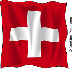 Flag of Switzerland - Waving flag of Switzerland isolated on...