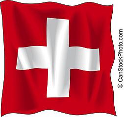 Flag of Switzerland - Waving flag of Switzerland isolated on...