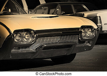 Muscle Car - Vintage muscle car in black sepia color tone