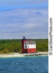 Light House - Historic light house at Round island in the...