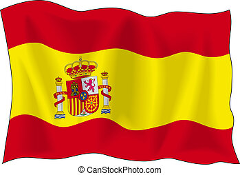 Flag of Spain - Waving flag of Spain isolated on white