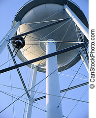 water tower 1 - a large water utility tower with clear blue...