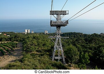 cableway - a cableway with sea coast at background
