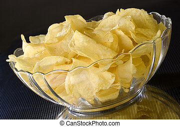 chips - potato chips in a bowl close up shoot