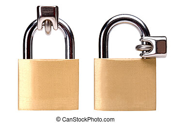 lock - two brass locks with different position close up on...