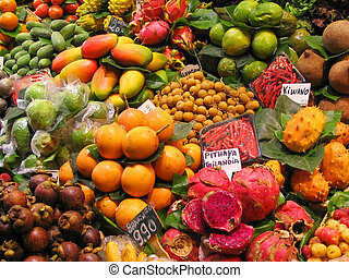 Tropical fruits stall at the market