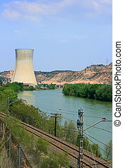Nuclear power plant - Asco Nuclear Power Plant over the Ebro...