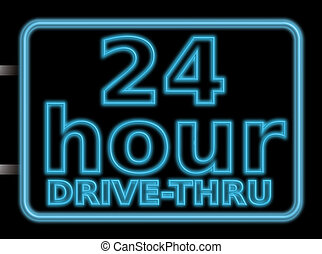 neon sign 24hr drive - 24 hour drive through illustration of...