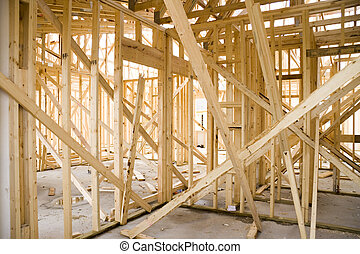 House construction - Looking inside a house under...