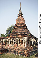 Ancient Thai temple - Ruins of ancient temple in Sukhothai,...