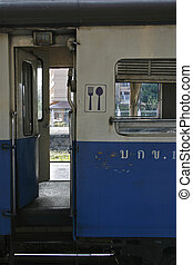 Dining car door - Dining car at Chiang Mai Central Station,...