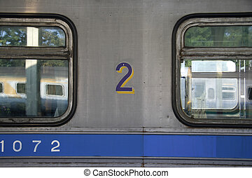 Number 2 - Railroad car detail, Chiang Mai Central Station,...