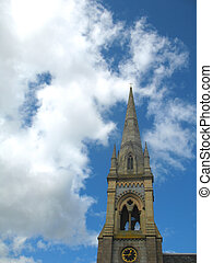 Stone Church Spire - Scottish church spire reaching up into...
