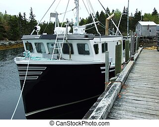 lobster fishing boat - cape island lobster fishing boat tied...