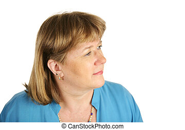 Blond Woman Faces Future - An attractive, middle aged woman...