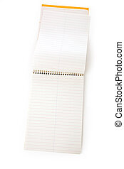 opened notepad with white background