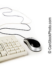 computer mouse and keyboard with white background