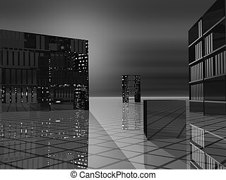 Modern Offices Grayscale Greyscale - Office space with...
