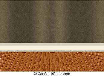 Wall with Harwood Floor - Hardwood flooring with green...