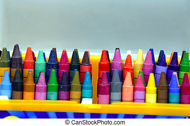 Box of Crayons - A box of colorful crayons with copyspace at...
