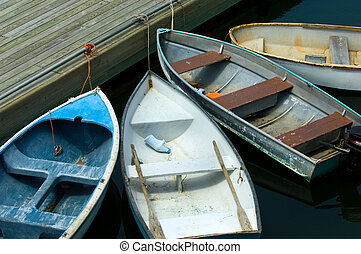 Rowboats by the pier - Rowboats in Bar Harbor in Maine
