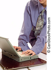 Communication - Details of working girl with a laptop on a...