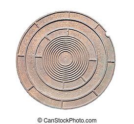 Manhole cover  - A close-up of a rusty manhole cover