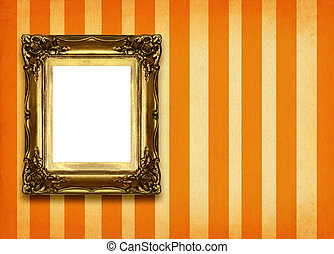 frame on retro background 2 - hollow gilded picture frame on...