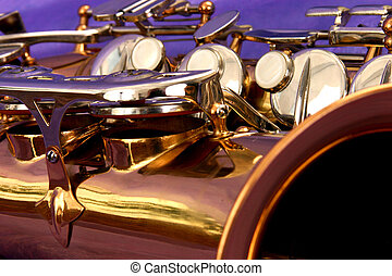 saxophone abstract - close up of the main body of an alto...