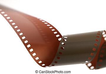 35 mm, película, rollo, unfurled, encima, blanco