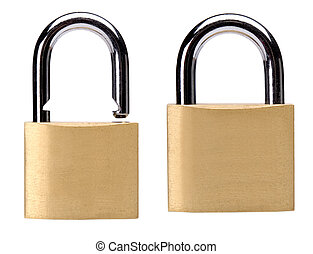 lock - two padlocks in different position close up on white