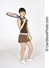 Tennis - Model Release 302 Asian teen holding a tennis...
