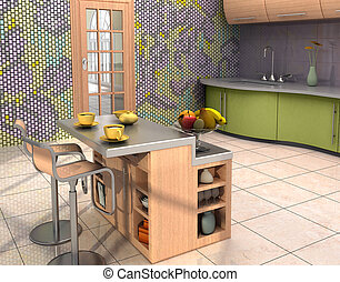 Modern kitchen interior - The mosaic murall is my own design...