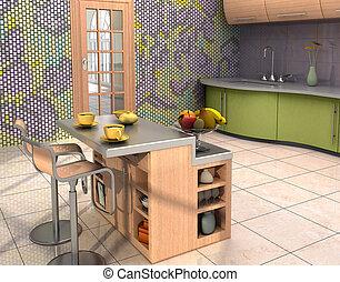 nowoczesny, kuchnia, wewnętrzny
