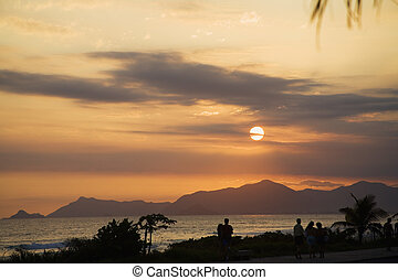 Barra da Tijuca - Sunset along Barra da Tijuca Beach in Rio...