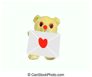 the love - the teddybear and the envelope with heart on it