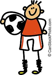 soccer kid - Happy little boy holding a soccer ball under...